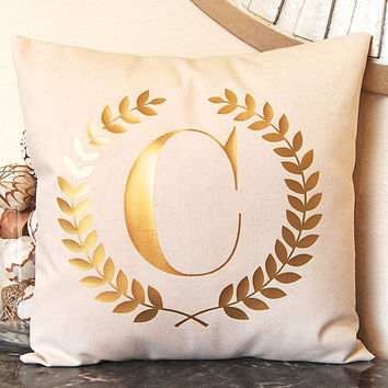 Gold Pillow, Metallic Gold Pillow, Gold Monogram Pillow, Metallic Decor, Gold Home Decor, Personalized Pillow, Metallic Silver Pillow