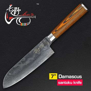 HAOYE 7 inch Santoku knife Japanese vg10 Damascus steel sharp kitchen knives fish sashimi sushi chef cutter pakkawood handle NEW