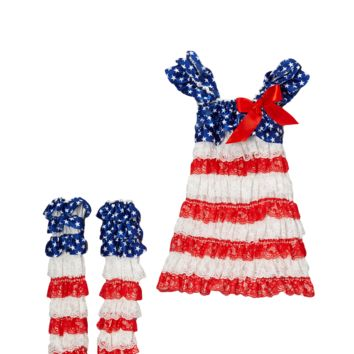 4th of July Flag Lace Capsleeve Dress & Warmers