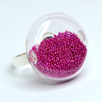 Metallic fuchsia color micro bead in round blown by thestudio8