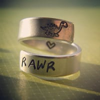 RAWR means I love you in Dinosaur spiral ring heart inside handstamped with love