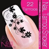 Nailart NAIL TATTOO STICKER - blossom / ornament - black