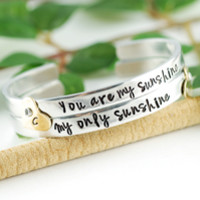 "You are my Sunshine My only Sunshine Cuff Bracelet Set, 1/4"" Cuff"