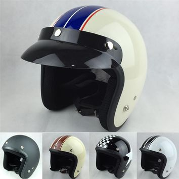 VCOROS Vintage 3/4 Open Face DOT ECE Approved Motorcycle Helmet