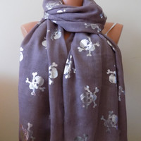 Skull scarf,Skull printed scarf,Day of the Dead Scarf, Skull Cowl Wrap,Women Fashion Accessories,women Scarf gift ideas,gifts for her