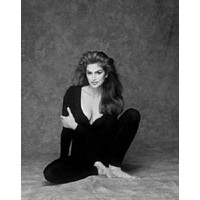 Cindy Crawford Poster Standup 4inx6in black and white