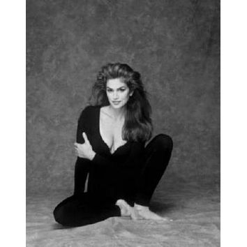 Cindy Crawford poster Metal Sign Wall Art 8in x 12in Black and White