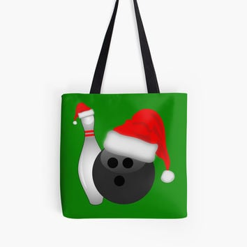 'Christmas Bowling' Tote Bag by Gravityx9