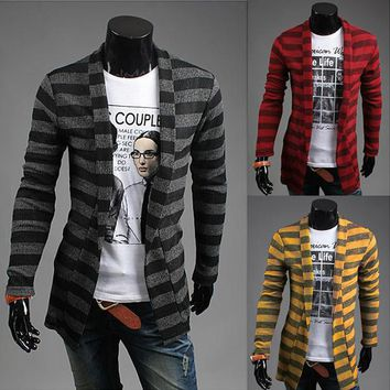 Mens Trendy Striped Cardigan Sweater