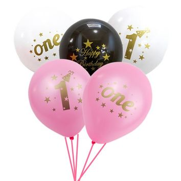 20pcs Happy First Birthday Decoration Mixed Latex Balloons 1st Birthday Party Decorations Kids I AM ONE Year Blue Pink