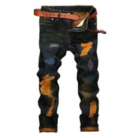 Vintage Stylish Hole Worn Out Straight Ripped Designer Jean for Men