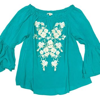 Andree by Unit Off Shoulder Embroidered Top Emerald