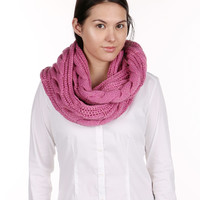 Pink Cable Knit Infinity Scarf