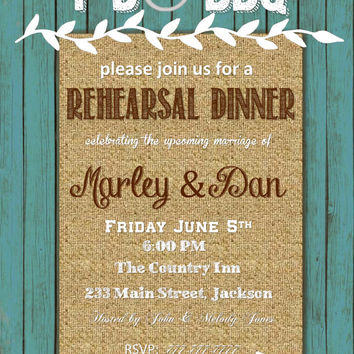 DIY Printable I Do BBQ with Teal Wood Background & Burlap Customizable For Your EVENT