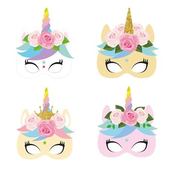 12pcs/pack Unicorn Face Paper Mask Baby Shower Party Masks Unicorn Theme Face Masks Unicorn Birthday Party Dress-Up Photo Props
