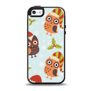 The Orange Cartoon Winter Owls Apple iPhone 5-5s Otterbox Symmetry Case Skin Set
