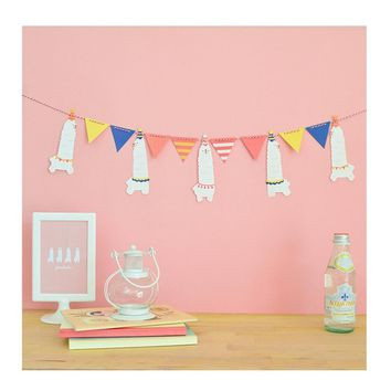 Children's Day Flag Banner Cartoon Animal Alpaca Party paper Banner Baby Shower Garland Bunting for kids Room Decoration