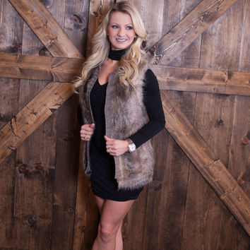 Soft Fur Vest- Gray