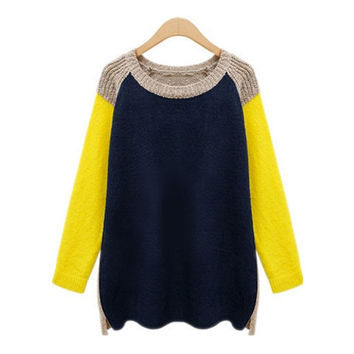 Claudie Crewneck Color Block Oversized Sweater
