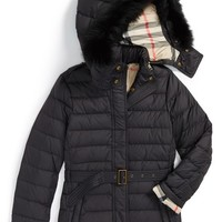 Girl's Burberry 'Cornsdale' Hooded Genuine Blue Fox Fur Trim Down Jacket