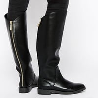 Pull&Bear Flat Knee High Boots With Zip Back