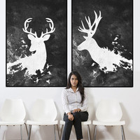 Deer abstract wall art, deer with antlers large wall art, large abstract painting on canvas, wildlife paining, acrylic painting canvas