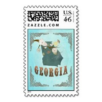 Georgia Map With Lovely Birds Postage
