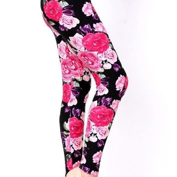 Women's Rose Leggings Flowers Pink/Purple: OS/PLUS