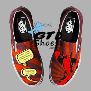 Hand Painted Vans. Deadpool. Wade Winston Wilson. Handpainted shoes