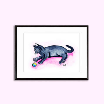 Watercolor kitty print nursery wall decor baby room decor downloadable drawing black cat animal art poster