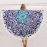 Indian Ombre Round Mandala Tapestry Bohemian Beach Throw Yoga Mat Towel Roundie, Plain, with pom pom, or tassel