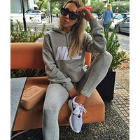 """NIKE""Sleeve Women Men Fashion Hooded Top Pullover Sweater Sweatshirt"