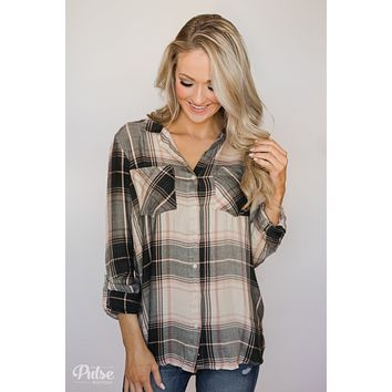 Thread & Supply Button Up Plaid Top- Tan, Blush, Dark Olive