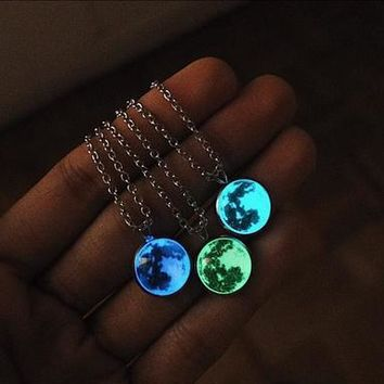 Enchanting Glow In The Dark Moon Necklace