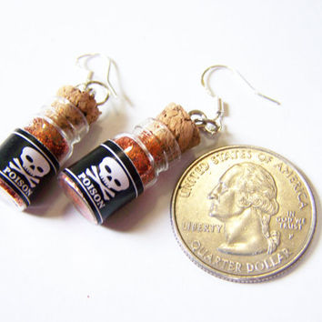 Poison bottle earrings red blue purple