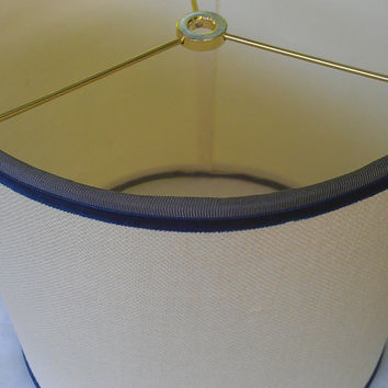 Lamp Shade Linen Creamy Yellow, Gray, Blue Velvet Drum Brass Washer Top Grosgrain Ribbon Hardback Designer Custom Handmade Elegant Classic