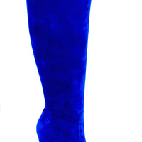 Luxury Shoes - Electric Blue Suede Tall Boots