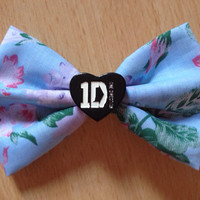 One Direction Floral Hair Bow - Medium, 1D, Vintage, Hipster, Harry Styles, Niall Horan, Zayn Malik, Louis Thomlinson, Liam Payne