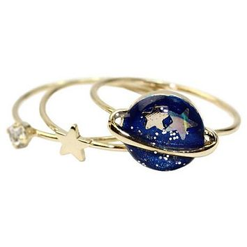 Star and Planet Ring Set