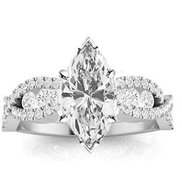 GIA CERTIFIED | 1.14 CTW Designer Twisting Eternity Channel Set Four Prong Diamond Engagement Ring w/ 0.54 Ct Marquise Cut I Color VVS2 Clarity Center (Platinum, Yellow, White, Rose)