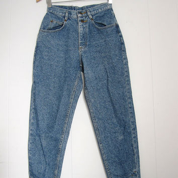 Vintage 80s High Waisted Mom Jeans Tapered Leg Stonewashed Button Ankles Blue Denim Short 24""