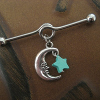 Crescent Moon And Star Charm Industrial Barbell- Turquoise Stone Dangle 14g 14 G Gauge Surgical Steel Ear Piercing Bar Earring