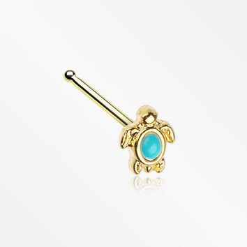 Golden Turquoise Turtle Nose Stud Ring