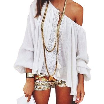 Summer Chiffon Tee Shirt Women Off Shoulder Blouse Casual Beach Crop Tank Tops Crochet Boho white Lace blouse Femme Blusas 2017