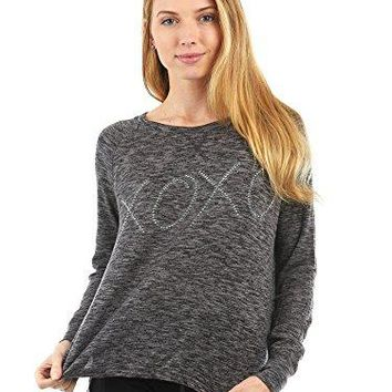 XOXO Womens Space Dye Long Sleeve Crew Neck Tee Shirt with Graphic See More Colors and Sizes