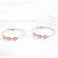 Rose Gold Diamante Trim Hoop Earrings