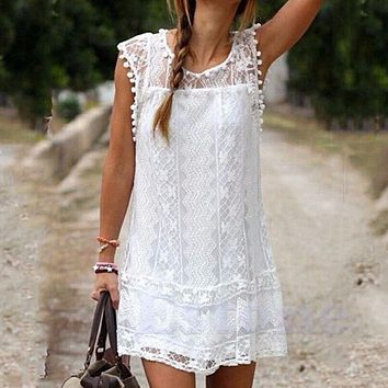 Sexy Lace Short Sleeve Dress Casual Femininos Crochet Floral Lace Embroidery Dresses Sheer Boho People Style Women Magenta