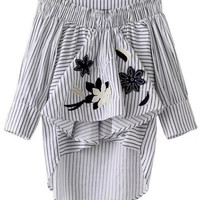 Asymmetrical Striped Ruffled Embroidery Blouse