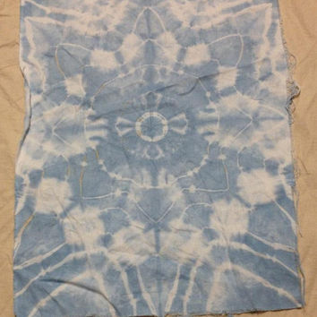 "Tie Dye Fabric Ice Dyed Light Blue Mandala 24""x17.5"" Linen"