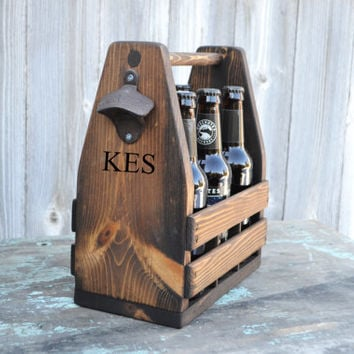 Personalized Rustic 6-Pack Beer Tote, Bottle Carrier, Christmas Gift, Gift for Him, Groomsmen Gift, Groom Gift, Boyfriend Gift